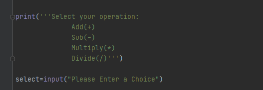 Calculator Program in Python using if elif else