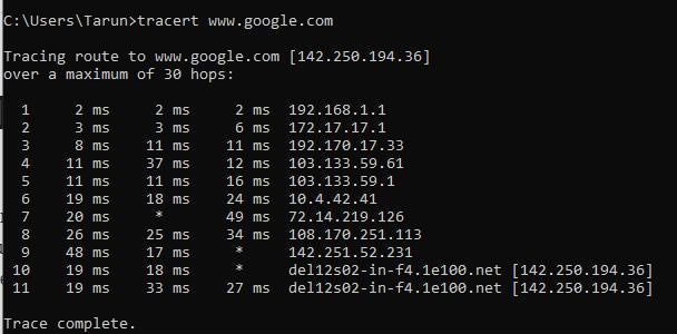 Find IP Address of Website using CMD