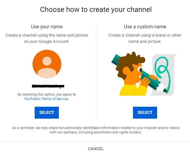how to create youtube account