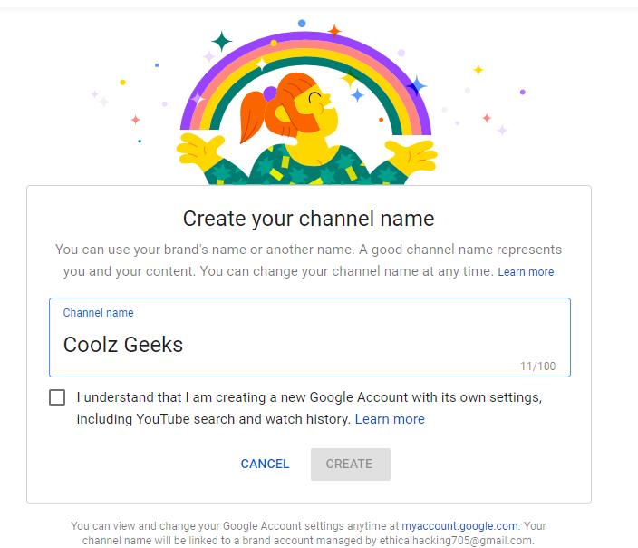 open a youtube channel